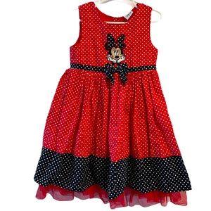Minnie Mouse Red white polka dot dress 5
